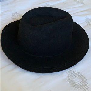 black wool wide brim fedora hat